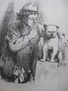 Launce & Crab.  Ilustración de Sir John Gilbert