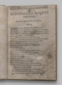 Midsummer nights dream  1st. quarto 1600